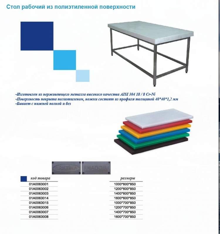 Стол рабочий из полиэтиленной поверхности 01А0063002