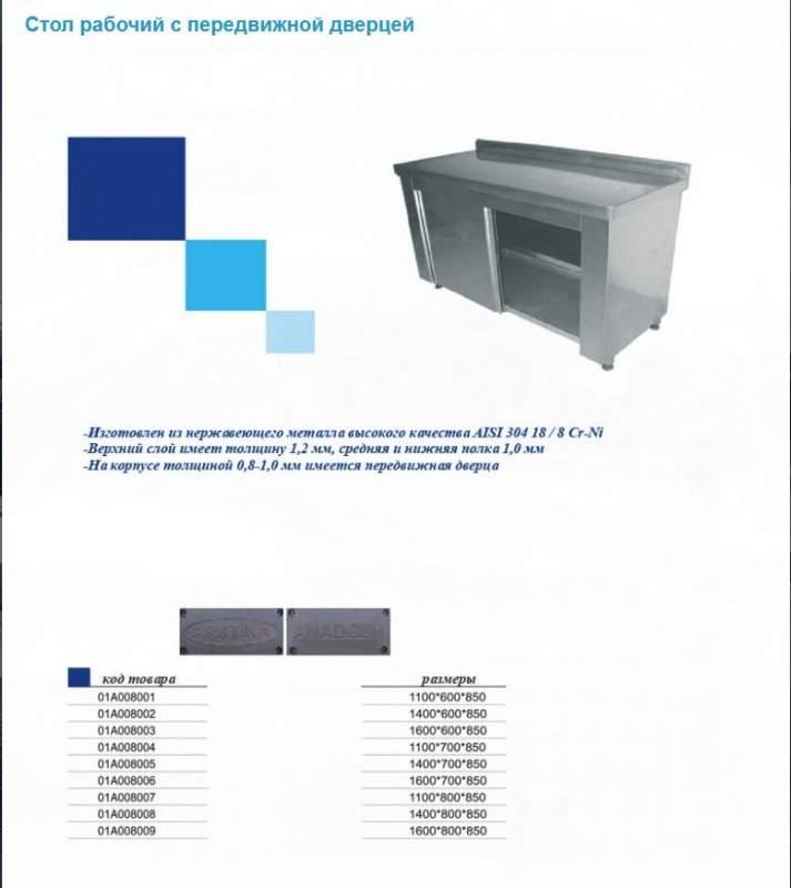 Стол рабочий с передвижной дверцей 01А008002