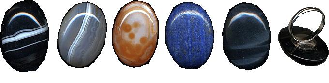 Купить Кольца с камнями-самоцветами кабошонами