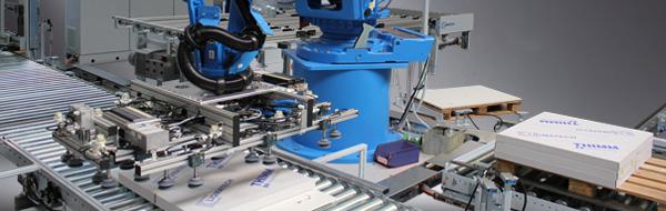 Роботизированное устройство для формирования паллет на линии для упаковки VRA 200