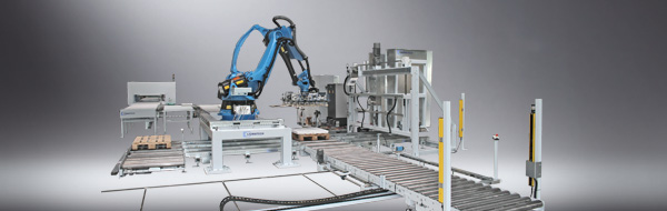 Роботизированное устройство для формирования паллет на линии для упаковки VRA 250