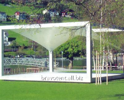 Рекламное сооружение из текстильных конструкций