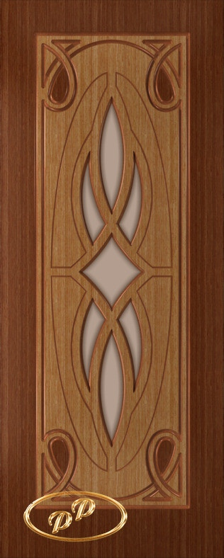Купить Межкомнатная дверь ДП Аванти-1, шпон ДУБ, тон Британия / тон Карелия, стекло матовое без рис. на бронзе 1-е матирование