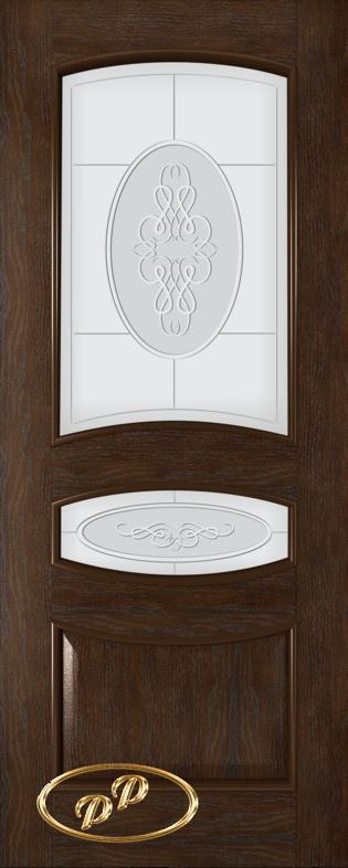 Купить Межкомнатная дверь ДП Алина, шпон НАТУРАЛЬНЫЙ ДУБ тон Каштан, стекло матовое с рис. Алина 2-е матирование, гравировка (верх+малое)