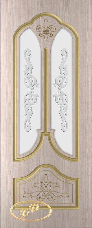 Купить Межкомнатная дверь ДП Афина, шпон БЕЛЁНЫЙ ДУБ бесцветный лак, пазы золото, стекло матовое с рис. Афина 2-е матирование