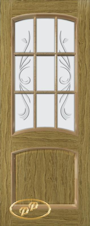 Купить Межкомнатная дверь ДП Бали, шпон НАТУРАЛЬНЫЙ ДУБ бесцветный лак, стекло матовое с рис. 2-е матирование