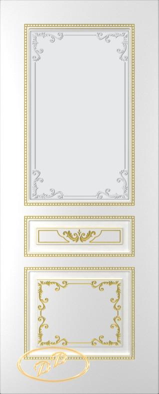 Купить Межкомнатная дверь ДП Блюз, тон Белый, патина золото (акрил), стекло матовое с рис. 1 2-е матирование