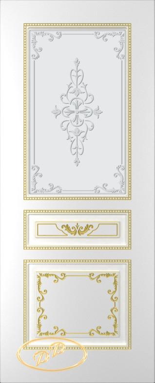 Купить Межкомнатная дверь ДП Блюз, тон Белый, патина золото (акрил), стекло матовое с рис. 2 2-е матирование