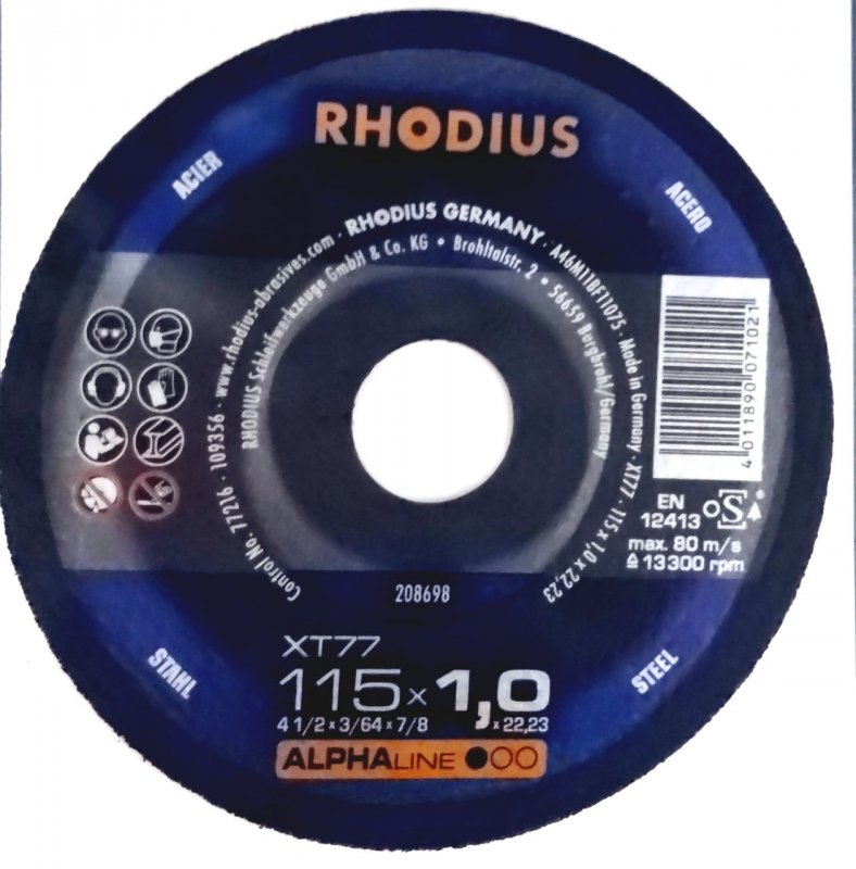 Rhodius kəsmə daşı  metal  115x1,0 pro