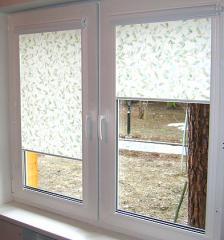 Blinds rolled on plastic windows in Bak