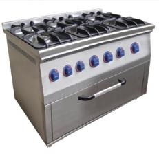 The gas stove, with an oven