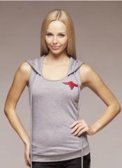 Undershirt with a hood, female, (footer) gray