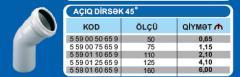 Pakplast kanalisasiya fittinqi-AÇIQ DİRSƏK 45