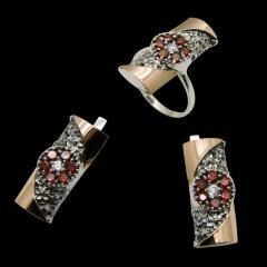 Серьги и кольцо серебряные с золотом