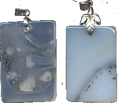Suspension brackets from milky-white agate