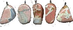 Подвески из бело-розовой яшмы
