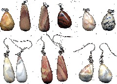 Suspension brackets and earrings from a jasper