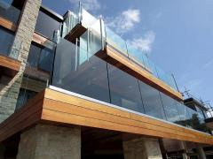 Glass handrail with accessories from aluminum