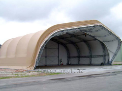 Mobile hangar with curved overlapping