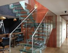 Glass handrail with accessories from stainless