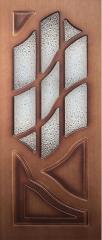 Шпонированная дверь Волна, шпон орех