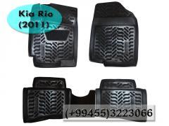Kia Rio 2011 ucun rezinler.  Полиуретановые коврики для Kia Rio 2011.
