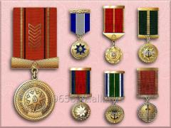 Medals on a block prize under the order