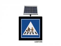 LED road signs on solar power stations