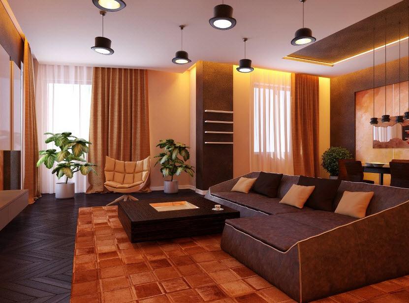 Дизайн дома в теплых тонах