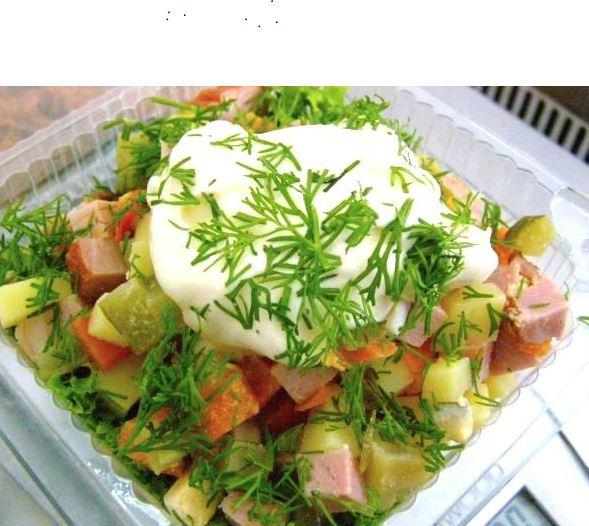 Заказать Приготовление блюд: салат Оливье с маринованным огурцом